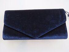 NUOVO CON ETICHETTE debutto da Debenhams Ladies Navy Blue Velvet CLUTCH BAG
