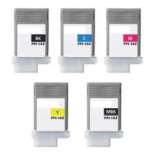 Compatible PFI-102 5-Set Inks PFI-102MBK/BK/C/M/Y for Canon LP24