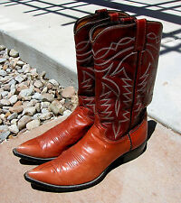 JUSTIN MEN'S GENUINE BROWN LEATHER RIDING POINTY TOE BOOTS SIZE 10B