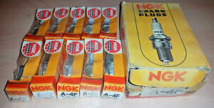 NOS Set of 10 pack of NGK A-4F Spark Plugs - A4F - Box of 10 - 18 deg Taper Seat