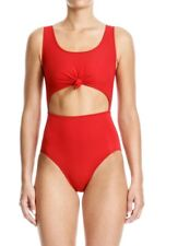 BETH RICHARDS KNOTTED ONE PIECE SWIMSUIT RED SIZE LARGE $260+