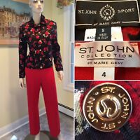 ST JOHN Size 4 /Small Red Black Floral Denim & Santana Knit 2-Piece PANT SUIT