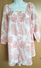 F&F Blouse Tunic Cover Up Size 12 White Cotton Paisley