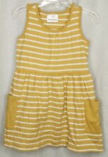 HANNA ANDERSSON Dress Girls Size 100 4T Yellow w/ White Stripes