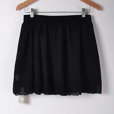 Womens Girl Chiffon Pleated Flared Elastic Waist 2 Layer Mini Skirt Short Dress