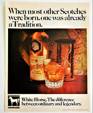 Vtg 1969 White Horse scotch whisky whiskey retro advertisement print ad art