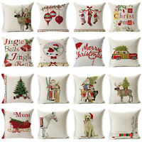 Christmas Pillow Case Cotton Linen Sofa Throw Cushion Cover Home Decor Xmas Gift