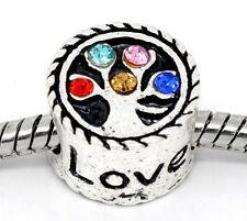 Family Tree Love Multicolored Rhinestone Charm for Silver European Bead Bracelet