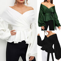 Women Off Shoulder Shirts Belted Puff Tops Bow Fashion Office Long Sleeve Blouse