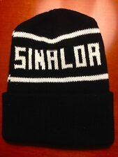 "Custom Black Beanie 'SINALOA"" Letter On-Knit Cap with cuff"