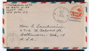 USA = WW2 1943 U.S. NAVY 6c Air Mail cover. Naval Censor cachet. . (Jy20qn)