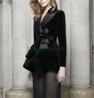 Occident Womens OL Work Lapel Suit Blazer Jacket Slim Coat V Neck Velvet SIBO Sz