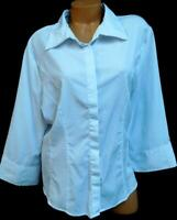 Cato white elbow sleeves spandex stretch women's plus buttoned down top 22/24W