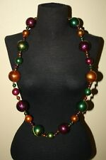 GIANT MARBLE BALL Beads Fancy New Orleans MARDI GRAS Gold Purple GreenNecklace