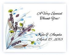 100 Custom Personalized Blue Spring Floral Wedding Bridal Thank You Cards