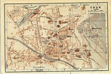 Antique map plan Chur Switzerland / mappa Coira 1927