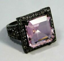 Synthetic Pink Kunzite Unique Design German Silver Ring SIZE 8