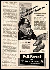 1942 Poll Parrot & Star Brand Shoes Kid Football Player Leather Helmet Print Ad