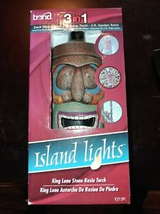 Bond Island Lights King Luau Stone Resin Torch  torches Deck Table
