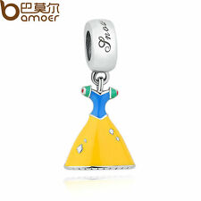 Authentic S925 Sterling Silver Charms Yellow Snow White's Dress Fit Bracelets