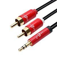 Shielded OFC 3.5mm Jack AUX to RCA Male Phono Plug Cable 1m 2m 3m 4m 5m 7m 10m