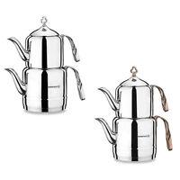 Korkmaz Caydanlik Teekocher Teebereiter Modern Edelstahl Silber, Kupfer