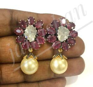 Polki Diamond Ruby & Pearl Gemstone Dangle Earring 925 Silver Wedding Jewelry