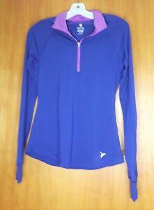 Old Navy Active 1/4 Zip Athletic T-Shirt Top Women's XS Purple Long Sleeve EUC