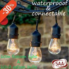 10m  Festoon String Lights | Waterproof Outdoor | Wedding Party Vintage Style AU