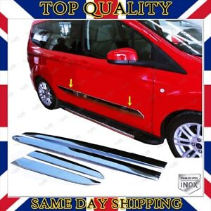 Chrome Side Door Streamer 4dr S.STEEL For Ford COURIER Transit / Tourneo 2014-UP