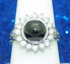 BLACK DIOPSIDE SOLITAIRE & WHITE TOPAZ ACCENT RING SOLID 10 KW GOLD 4.0 g SIZE 8