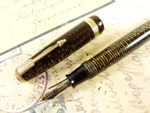 Golden Pearl Parker Vacumatic Long Major Fountain Pen Semi Flex Nib - restored