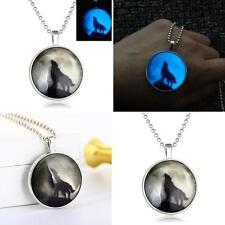 Retro Lady Wolf Glow in the Dark Pendant Charm Necklace Steampunk Jewelry Finest