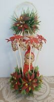 Vintage Plastic Hanging Christmas Lantern Knee Hugger Mistletoe Pixie Elf Kitsch
