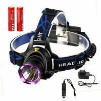 Profi LED Stirnlampe Kopflampe 10000Lm XM-L T6 inkl.2x 18650 Akku +Ladegerät