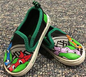 Baby Toddler Boys Shoes TEENAGE MUTANT NINJA TURTLES Black Green Canvas SIZE 5