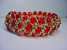 Bracelet - Red Crystal 3 Rows - Gold Tone Wire - Stretchy Band - Dazzling!