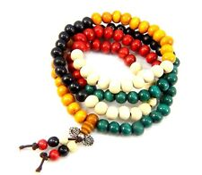 Sandalwood Wooden Beaded Wrap Bracelets Buddha Mala Prayer Beads Bangle Necklace