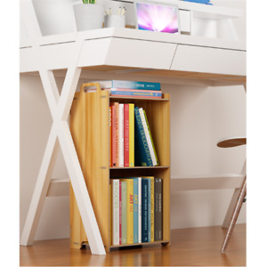 Wooden stacking storage tray bookshelf