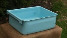 Vintage Refrigerator Drawer Vegetable Bin Turquoise Blue Enamel Farmhouse