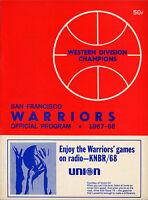 1967-68 NBA NEW YORK KNICKS vs. SAN FRANCISCO WARRIORS GAME PROGRAM UNSCORED NM+