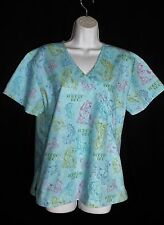 Scooby-Doo! Size M Medium Turquoise Blue Faux Wrap Scrub Top