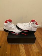 Nike Air Jordan 5 Athletic Men's Shoes - True White/Fire Red/Black, Size 9