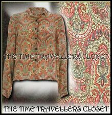 KATE MOSS TOPSHOP RARE BEIGE RED BLUE PAISLEY PRINT CREPE SHIRT BLOUSE UK 6 8