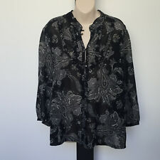 'AUTOGRAPH' EC SIZE '16' BLACK, GREY & WHITE LONG SLEEVE FRILL BUTTON FRONT TOP