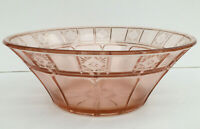Vintage 1930s Jeannette Pink Depression Glass Doric Serving Bowl Round