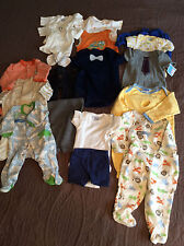 lot of infant boys clothing size NB to 3 months tops bottoms pajamas R8
