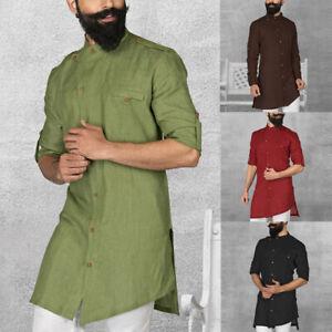 Mens Kurta Ethnic Shirts Formal Grandad Collarless Shirt 100%Cotton T Shirt Tops