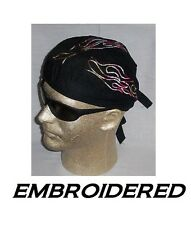MULTI COLOR FLAMES Tribal EMBROIDERED FITTED BANDANA w/TIES Doo Do Rag Skull Cap