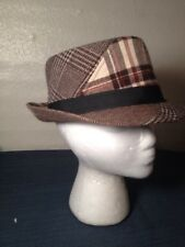 6efdb075a34 Retro Tweed Style Short Brim Fedora Hat Cap Stretch Fit S m Brown Plaid  Beige